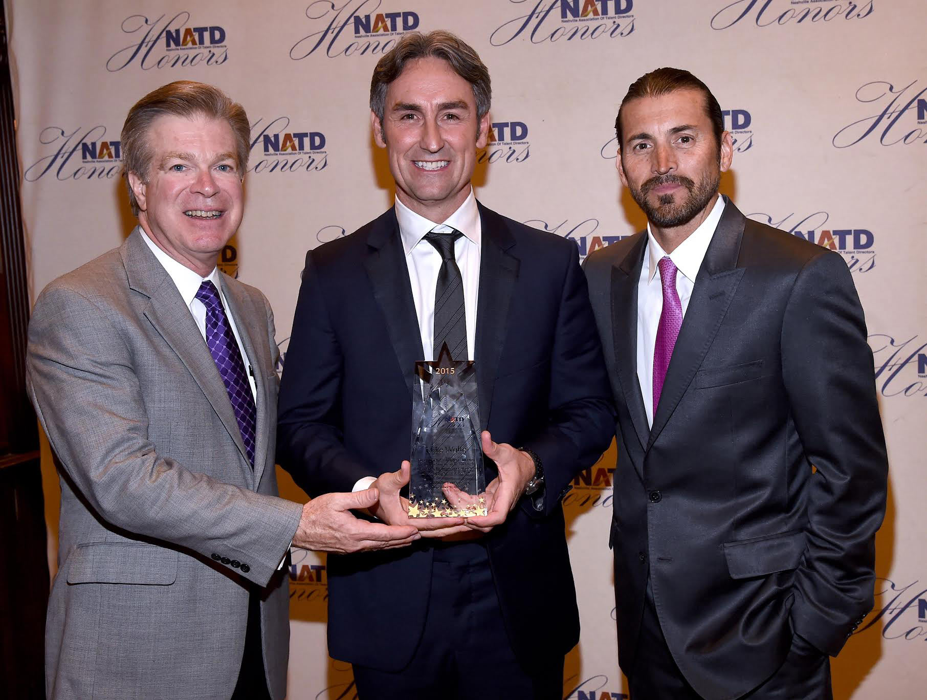 NATD President Steve Tolman, Creator and Host of American Pickers Mike Wolfe, and director/owner of Tacklebox Films Shaun Silva attend the NATD Honors Gala on November 9, 2015 in Nashville, Tennessee. (Photo by Rick Diamond/Getty Images for NATD)