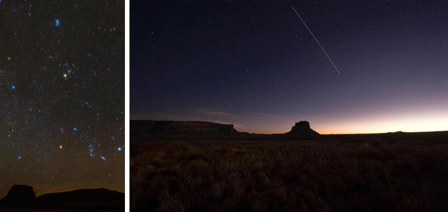 Orion over Chaco and Fajada Butte at night. Photo courtesy of the National Park Service