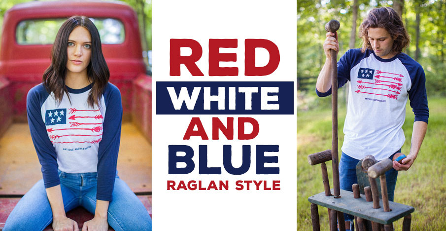 Red White and Blue Raglan Style