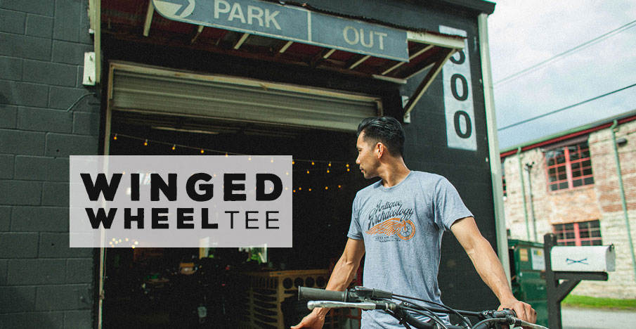 Grey Winged Wheel Tee
